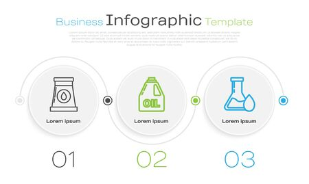 Set line Oil and gas industrial factory building, Canister for motor machine oil and Oil petrol test tube. Business infographic template. Vector