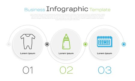 Set line Baby clothes, Baby bottle and Calendar. Business infographic template. Vector