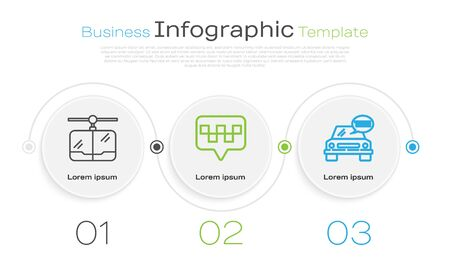 Set line Cable car, Map pointer with taxi and Taxi car. Business infographic template. Vector