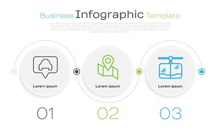 Set line Map pointer with taxi, Folded map with location marker and Cable car. Business infographic template. Vector