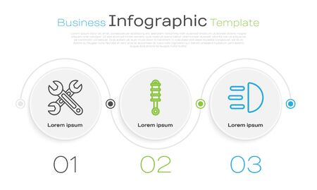 Set line Wrench, Shock absorber and High beam. Business infographic template. Vector 矢量图像