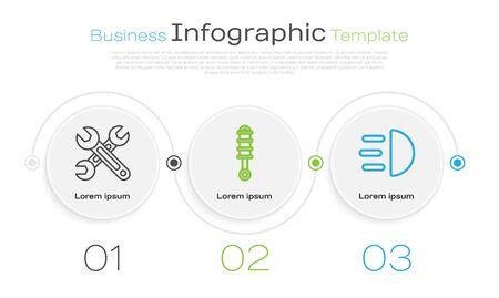 Set line Wrench, Shock absorber and High beam. Business infographic template. Vector Ilustração