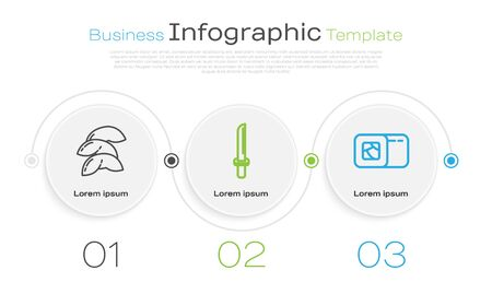 Set line Chinese fortune cookie, Japanese katana and Sushi. Business infographic template. Vector