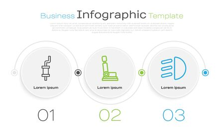 Set line Car muffler, Car seat and High beam. Business infographic template. Vector