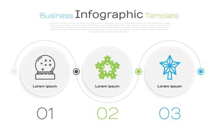 Set line Christmas snow globe with fallen snow, Snowflake and Christmas star. Business infographic template. Vector