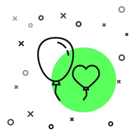 Black line Balloons in form of heart with ribbon icon isolated on white background.  Vector Illustration Ilustrace