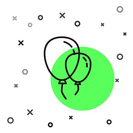 Black line Balloons with ribbon icon isolated on white background.  Vector Illustration