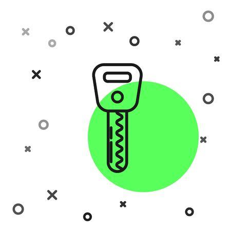 Black line Car key icon isolated on white background. Vector Illustration
