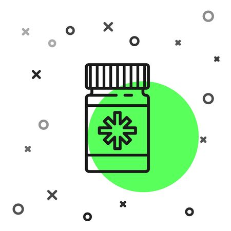 Black line Dog medicine bottle and pills icon isolated on white background. Container with pills. Prescription medicine for animal. Vector Illustration