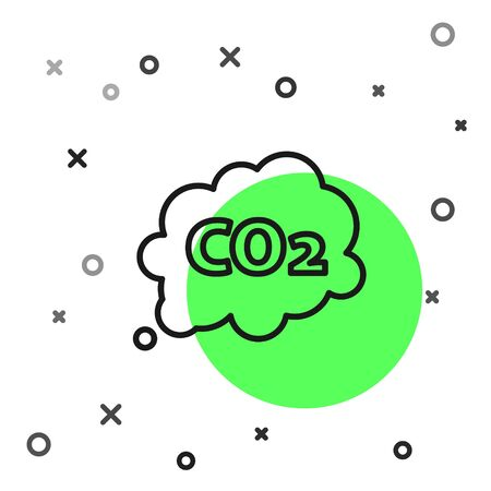 Black line CO2 emissions in cloud icon isolated on white background. Carbon dioxide formula symbol, smog pollution concept, environment concept. Vector Illustration