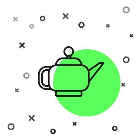 Black line Traditional Japanese tea ceremony icon isolated on white background. Teapot with cup. Vector Illustration Illustration