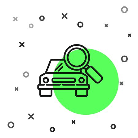 Black line Car search icon isolated on white background. Magnifying glass with car. Vector Illustration Illusztráció
