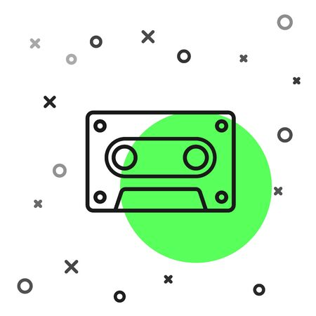 Black line Retro audio cassette tape icon isolated on white background. Vector Illustration 向量圖像