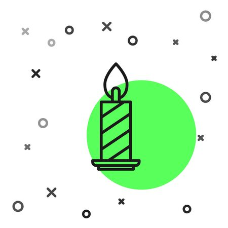 Black line Burning candle in candlestick icon isolated on white background. Cylindrical candle stick with burning flame. Vector Illustration