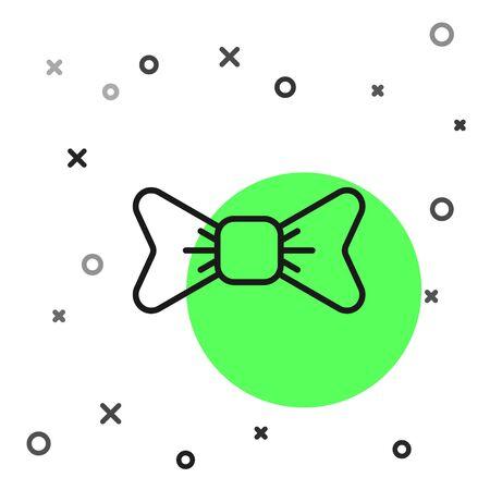 Black line Bow tie icon isolated on white background. Vector Illustration Vektorové ilustrace