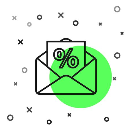 Black line Envelope with an interest discount from the store icon isolated on white background. Vector Illustration