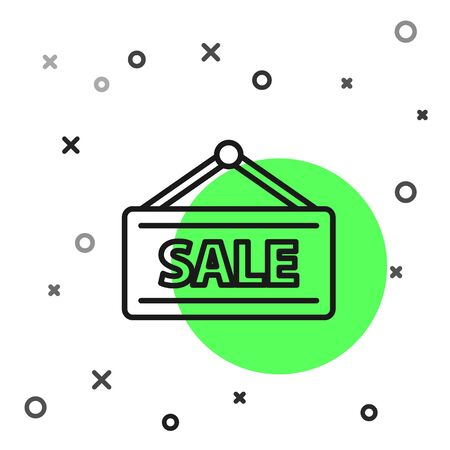Black line Hanging sign with text Sale icon isolated on white background. Signboard with text Sale. Vector Illustration Stock Illustratie