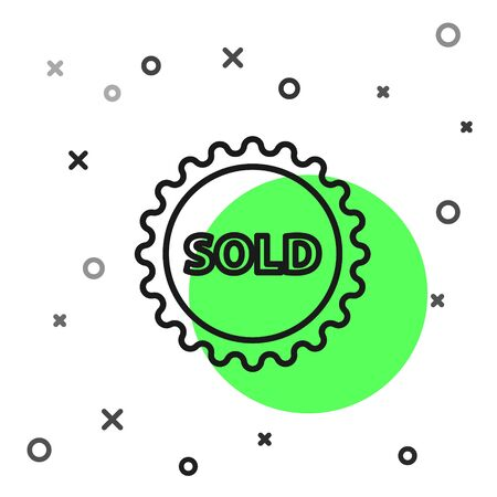 Black line Sold label icon isolated on white background. Vector Illustration