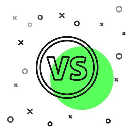 Black line VS Versus battle icon isolated on white background. Competition vs match game, martial battle vs sport. Vector Illustration