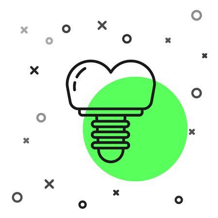 Black line Dental implant icon isolated on white background. Vector Illustration