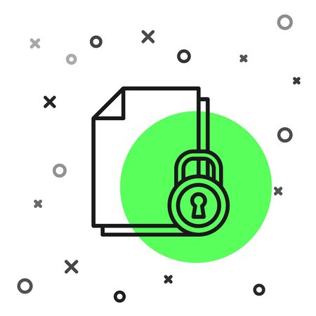 Black line Document and lock icon isolated on white background. File format and padlock. Security, safety, protection concept. Vector Illustration