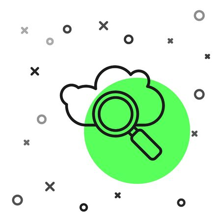 Black line Search cloud computing icon isolated on white background. Magnifying glass and cloud. Vector Illustration
