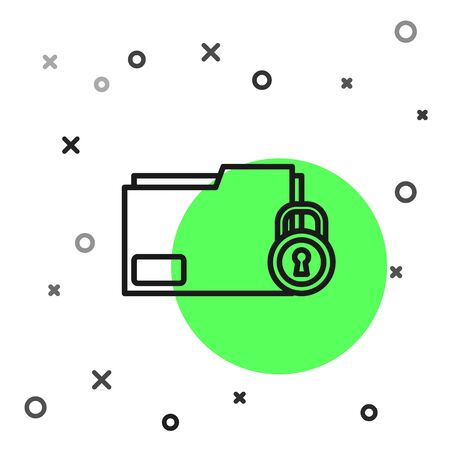 Black line Folder and lock icon isolated on white background. Closed folder and padlock. Security, safety, protection concept. Vector Illustration