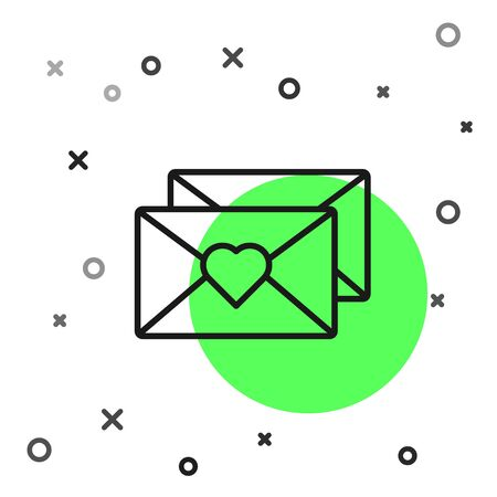 Black line Envelope with Valentine heart icon isolated on white background. Message love. Letter love and romance. Vector Illustration Çizim