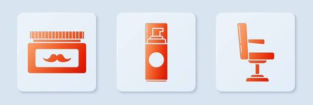Set Shaving gel foam, Cream or lotion cosmetic jar and Barbershop chair. White square button. Vector Ilustrace