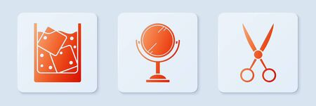Set Hand mirror, Glass of whiskey and ice cubes and Scissors hairdresser. White square button. Vector 向量圖像