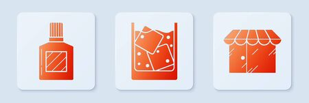 Set Glass of whiskey and ice cubes, Aftershave and Barbershop building. White square button. Vector 向量圖像