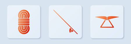 Set Surfboard, Climber rope and Hang glider. White square button. Vector