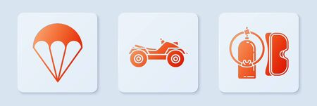 Set All Terrain Vehicle or ATV motorcycle, Parachute and Diving mask and aqualung. White square button. Vector Ilustração