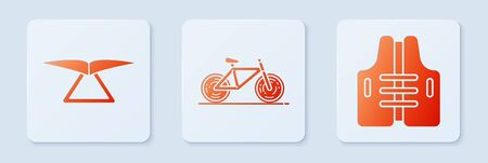Set Bicycle, Hang glider and Life jacket. White square button. Vector 일러스트