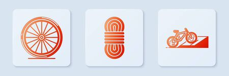 Set Climber rope, Bicycle wheel and Bicycle on street ramp. White square button. Vector Ilustrace