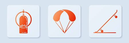 Set Parachute, Aqualung and Skateboard. White square button. Vector