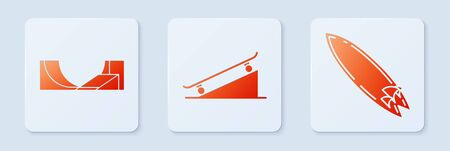 Set Skateboard on street ramp, Skate park and Surfboard. White square button. Vector Stock Illustratie
