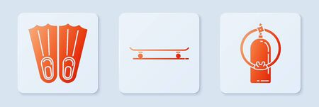 Set Skateboard, Rubber flippers for swimming and Aqualung. White square button. Vector