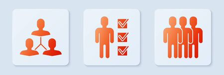 Set User of man in business suit, Project team base and Users group. White square button. Vector Иллюстрация