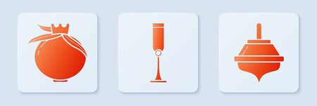 Set Jewish goblet, Pomegranate and Hanukkah dreidel. White square button. Vector Vectores
