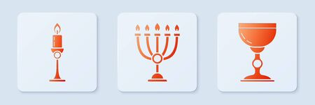 Set Hanukkah menorah, Burning candle in candlestick and Jewish goblet. White square button. Vector Ilustração
