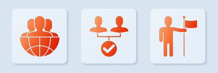 Set Project team base, Globe and people and Man holding flag. White square button. Vector