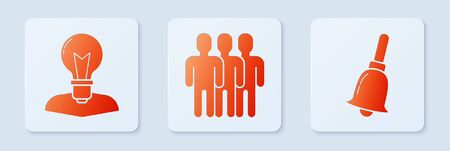 Set Users group, Human head with lamp bulb and Ringing bell. White square button. Vector