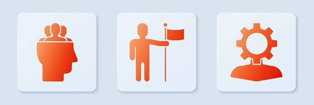 Set Man holding flag, Project team base and Human with gear inside. White square button. Vector