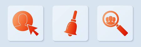 Set Ringing bell, User of man in business suit and Magnifying glass for search a people. White square button. Vector  イラスト・ベクター素材