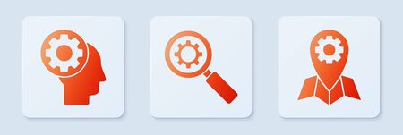 Set Magnifying glass and gear, Human head with gear inside and Location job. White square button. Vector Vettoriali