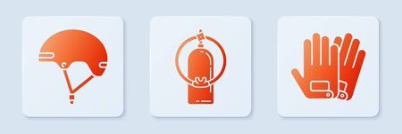 Set Aqualung, Helmet and Gloves. White square button. Vector
