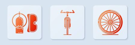 Set Bicycle, Diving mask and aqualung and Bicycle wheel. White square button. Vector