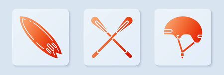 Set Crossed paddle, Surfboard and Helmet. White square button. Vector Illustration