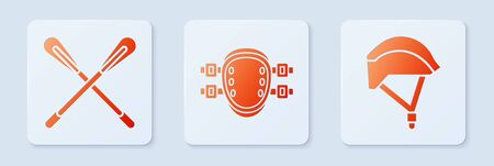 Set Knee pads, Crossed paddle and Bicycle helmet. White square button. Vector